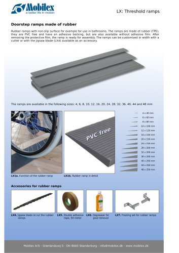 Threshold ramps, rubber or aluminium