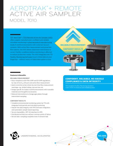 AeroTrak®+ 7010 Remote Active Air Sampler spec sheet