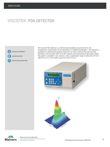 Viscotek PDA - Concentration detector,  molecular weight determination and compositional analysis