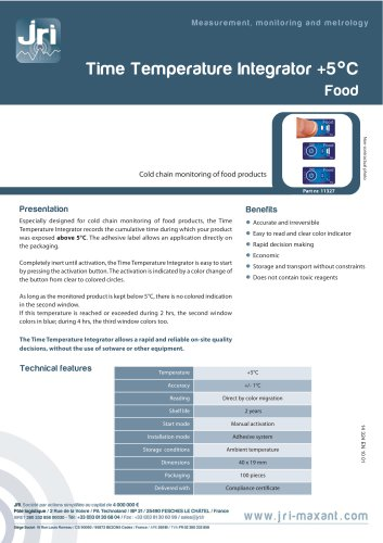 TIME TEMPERATURE INTEGRATOR +5°C FOOD