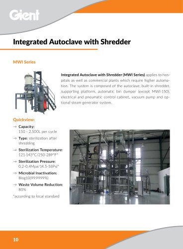 Integrated autoclave with shredder medical waste treatment hospital waste sterilizer GIENT MWI Series