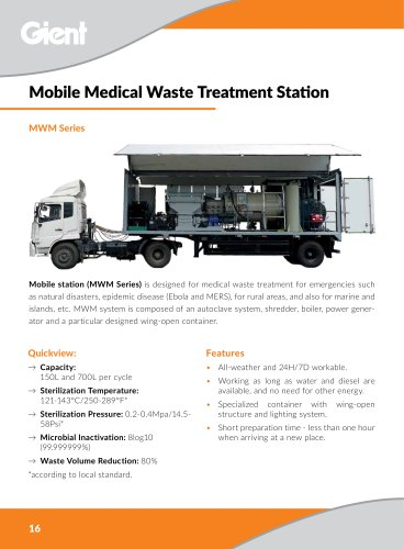 Mobile medical waste treatment station GIENT MWM Series