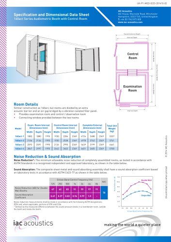 Specification and Dimensional Data Sheet 160act Series Audiometric Booth with Control Room