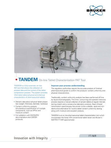 TANDEM: On-line Tablet Characterization PAT Tool