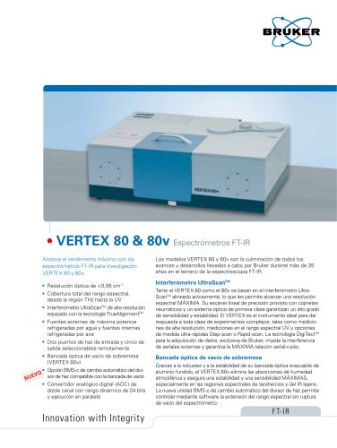 VERTEX 80 and 80v FTIR Spectrometers