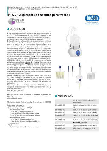 FTA-2i, Aspirador con soporte para frascos