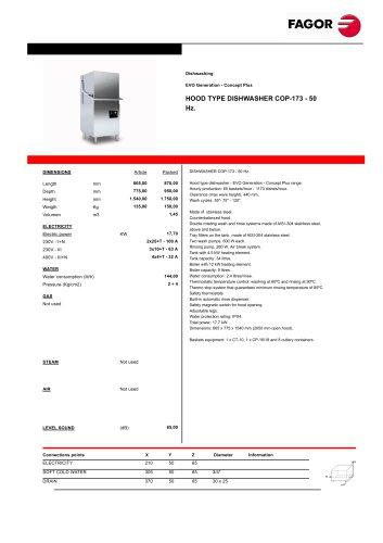 HOOD TYPE DISH WASHER COP -173 - 50  Hz.
